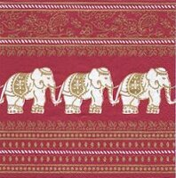 serviette papier éléphants Inde rouge royal parade