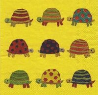 serviette en papier tortues multicolores fond jaune