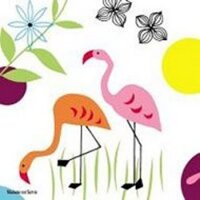 serviette en papier flamants rose orange décor fleuri soleil oiseaux