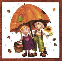 ENF050 CHILDREN UNDER AN ORANGE UMBRELLA