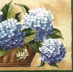 NAT156 BASKET OF BLUE HORTENSIAS