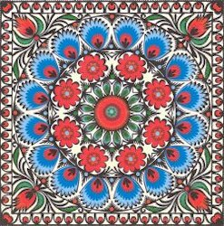 NAT196 KALEIDOSCOPE OF BLUE AND RED FLOWERS