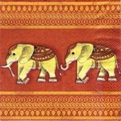 ANI017 ELEPHANTS SUR FOND ROUGE