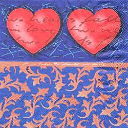 CEL013 RED HEARTS ON BLUE BACKGROUND